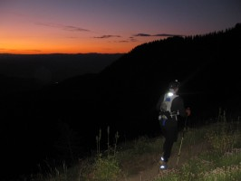Scott Wesemann watching the sunrise as he presses on to morning during his first Wasatch Front 100.