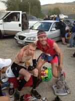 Me and my vegan cookie with Pacer Mark at my side; Twin Lakes, Mile 60