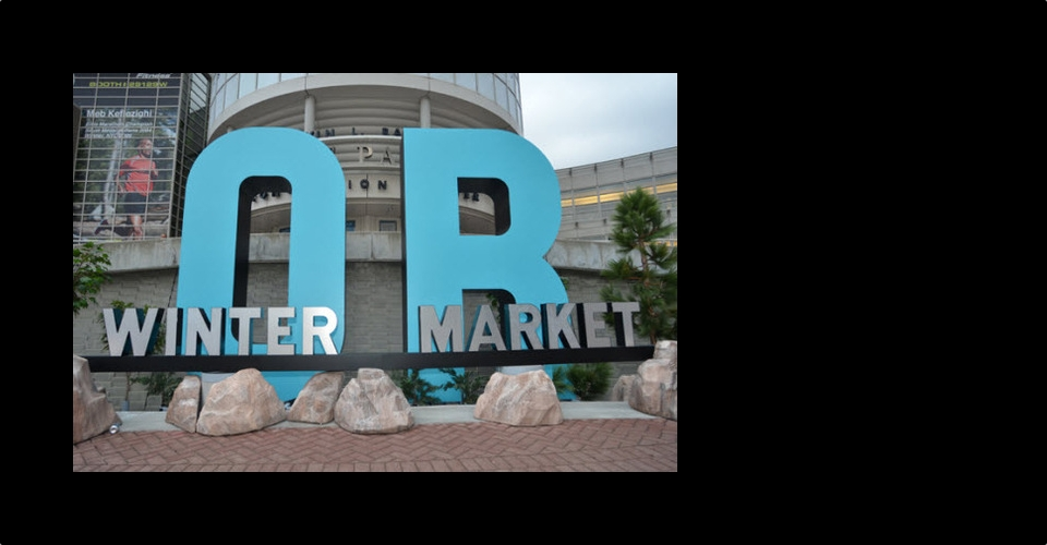 Picture of Winter Outdoor Retailer Market sign in Salt Lake City