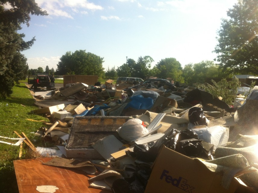 Dump site in south Boulder, one week after the flood