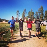 Four close friends running every step of the Bryce 100 together.