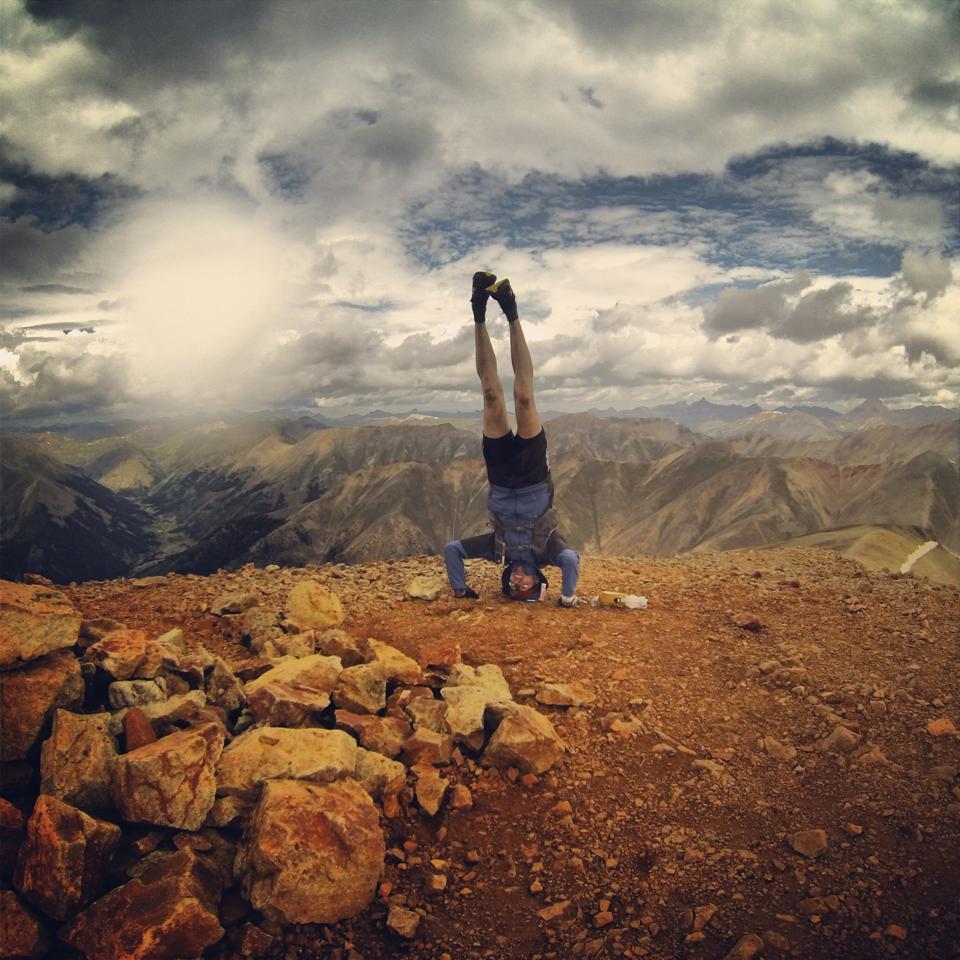 Redcloud Peak summit headstand