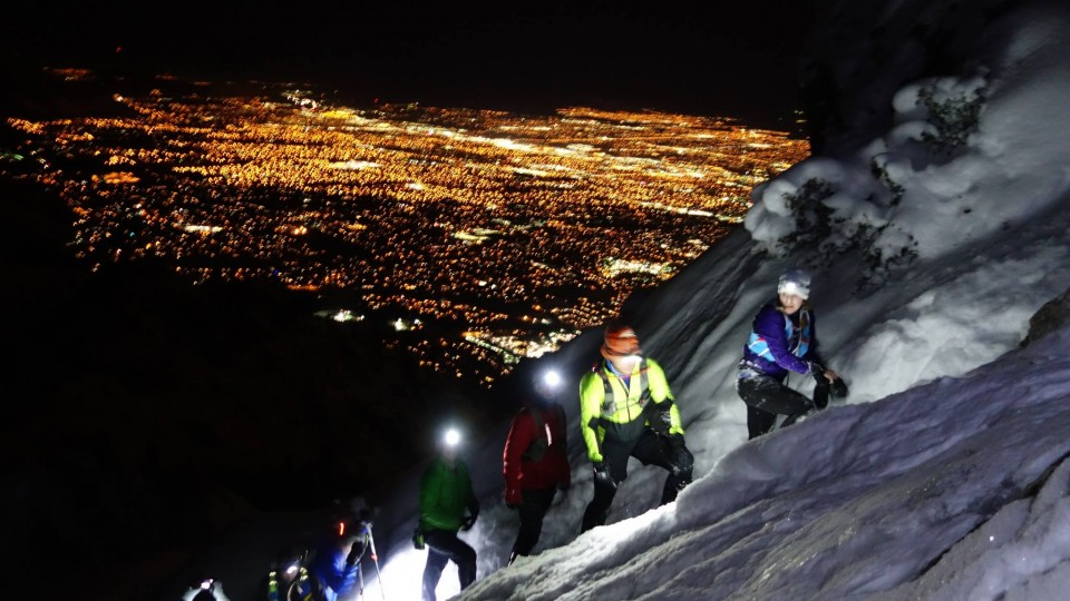 Several Wasatch Mountain Wranglers maneuver the tricky chute near the top of Mt Olympus. Photo by Steve Ball