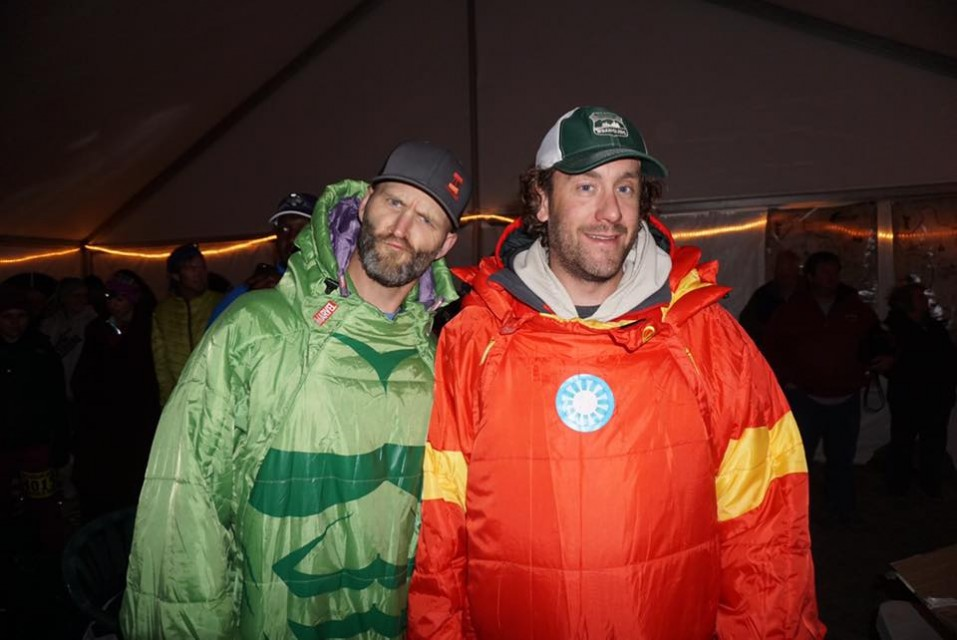 TAUR owners Craig Lloyd (The Hulk) and Matt Williams (Ironman) at the Start/Finish of the Buffalo Run 100 in their Selk'bags