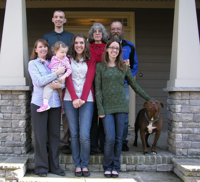 "Cantrell family picture. Front: Alexis, Bryn, Chrys, Amy, Big. Back: Case, Sandra, Gary. ""Everyone was laughing because Big was terrorizing the photographer."""